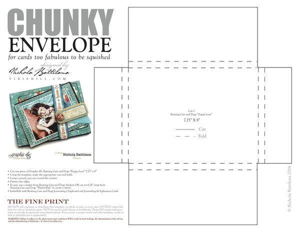 Click to get to the printable PDF for this chunky envelope by Nichola #G45GiftHowTos #graphic45