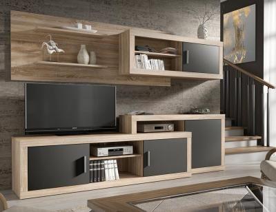 Mueble salon comedor cambrian grafito tv pinterest for Salon cocina moderno