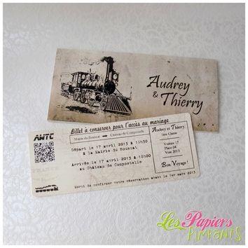 Billet De Train Vintage Les Papiers Pimpants Billet De Train Faire Part Mariage Faire Part Vintage