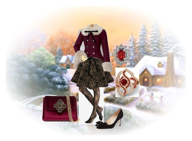 """Happy Holidays!"" by dolphintrainer ❤ liked on Polyvore featuring Express, Manolo Blahnik, Gemvara and Bebe"