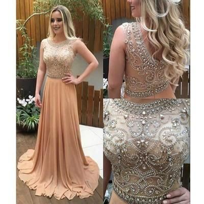 See through beaded prom dress, Long Champagne prom dresses, Custom prom dresses, prom dresses shop, Cheap prom dresses