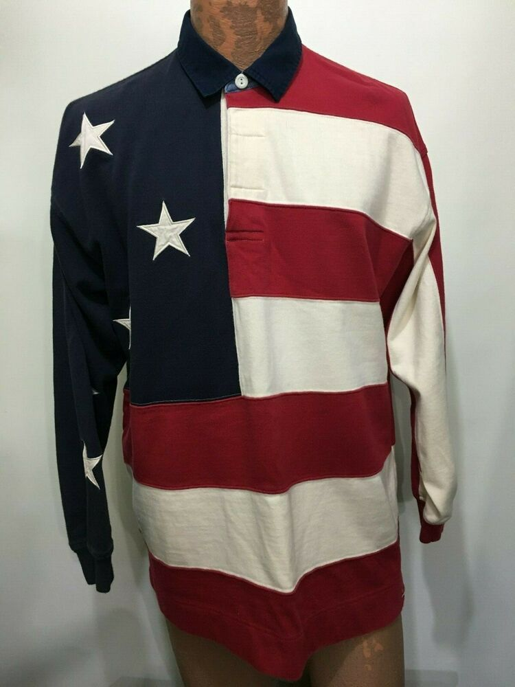 68a9d620 Tommy Hilfiger Mens M American Flag Red White Blue Long-Sleeve Cotton Polo  Shirt #TommyHilfiger #PoloRugby