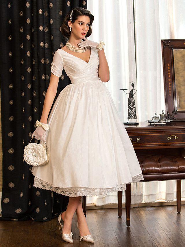 64f5e62f4fac Lan Ting A-line/Princess Plus Sizes Wedding Dress - Ivory Tea-length V-neck  Taffeta - USD $ 79.99