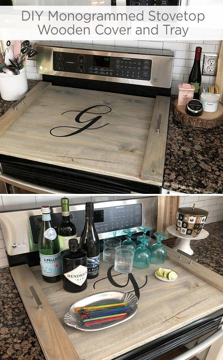 Photo of DIY Monogrammed Wooden Stovetop Cover and Tray | Ideas for the Home