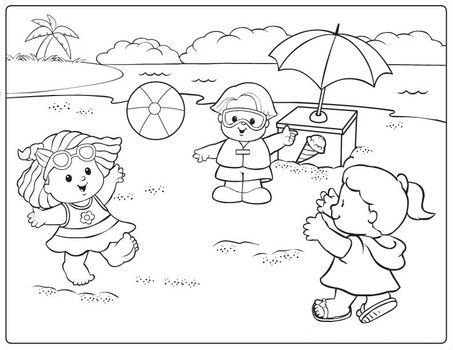 Fisher Price Playing Ball On The Beach Beach Coloring Pages
