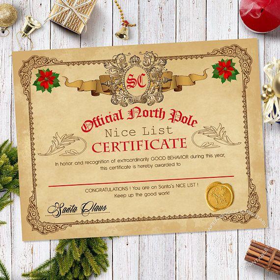 Santa Nice & Naughty List Certificate Letter from Santa ...
