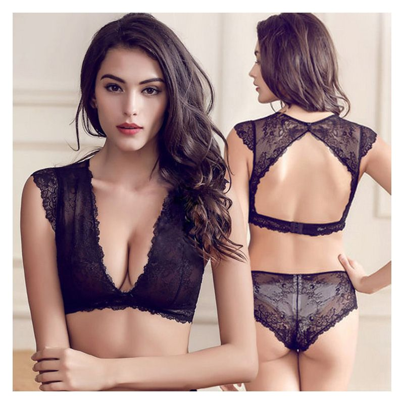 77395f2def Slim lace temptation sexy transparent and comfortable bra set push up deep  VS young women bra underwear set Black white breast-in Bra   Brief Sets  from ...