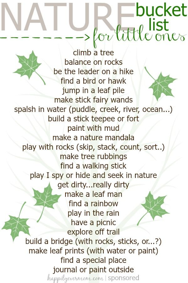 Kid's Nature Bucket List is part of Nature kids - Simple Kid's Nature Bucket List to start with the youngest of kids!