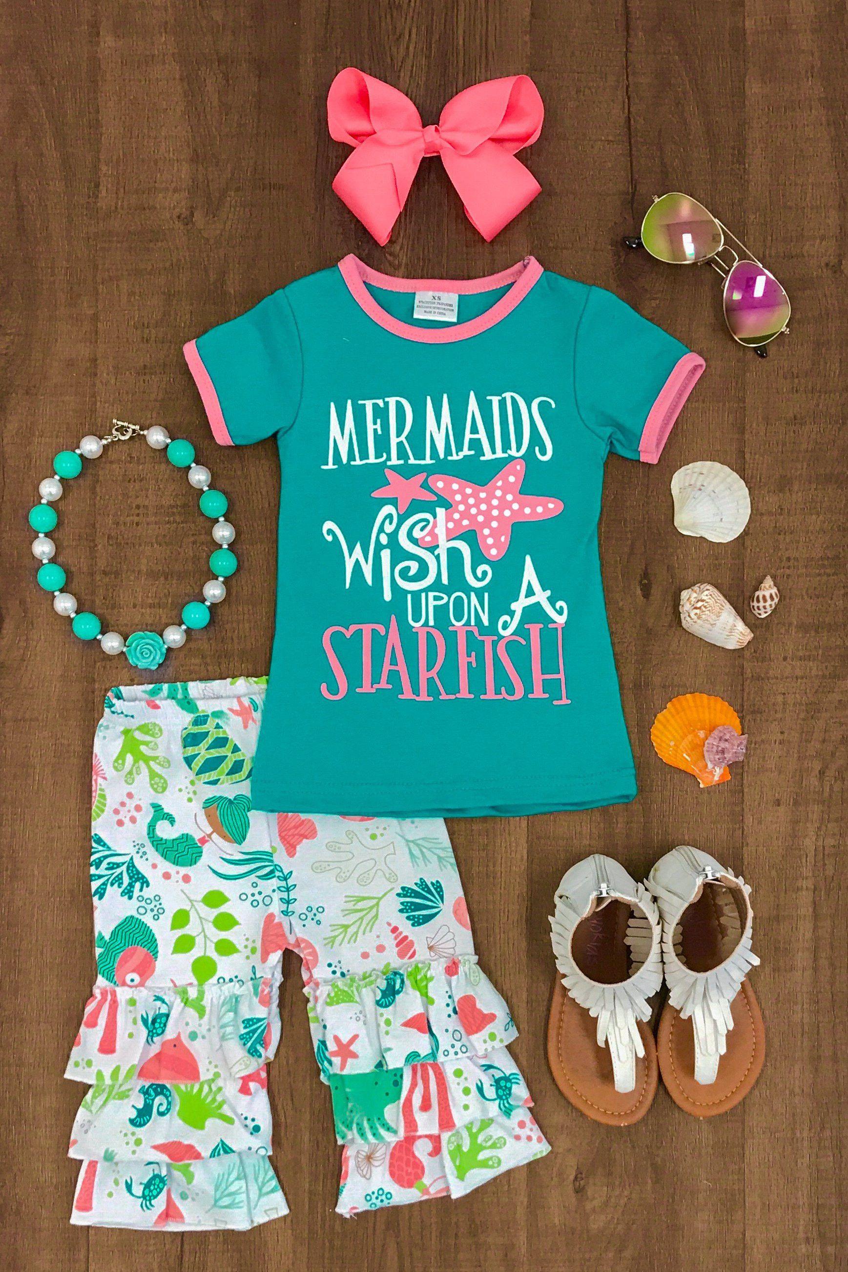 """Mermaids Wish Upon a Starfish"""" Capri Set Little Girls"""