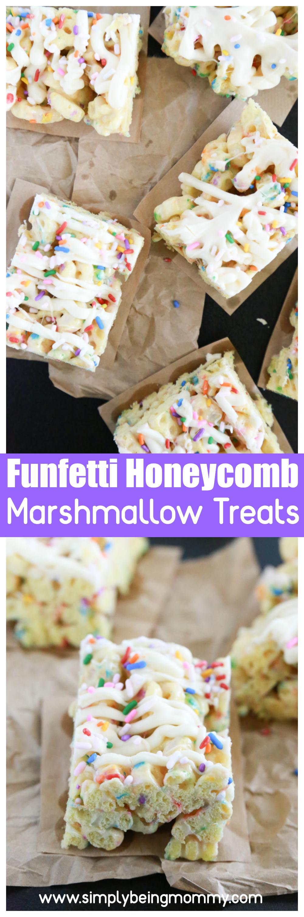 Funfetti Honeycomb Marshmallow Treats #marshmallowtreats