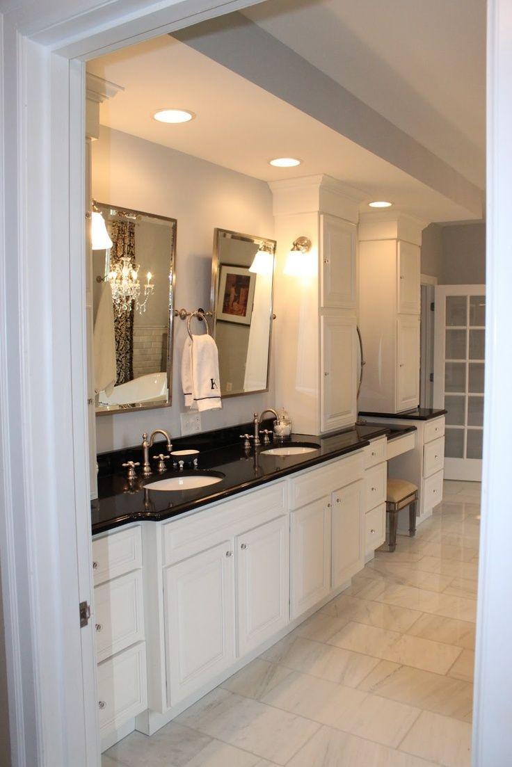 Black Bathroom Granite Countertops In A Large Private Room