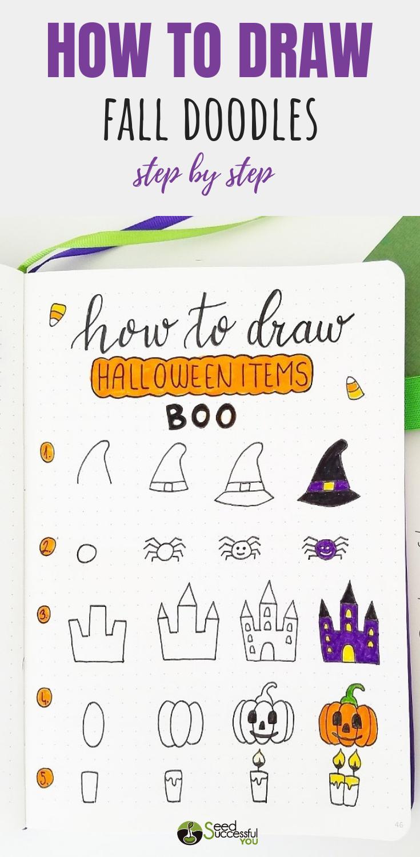 How to Draw Fall Bullet Journal Doodles? #octoberbulletjournal