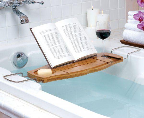 Umbra Aquala Bamboo Bath Caddy Bathtub Wine Book Reading Stand Rack ...