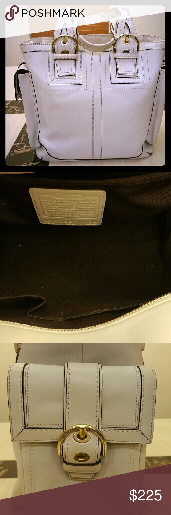Coach Soho Mia large leather tote bag.  Ivory/crea Excellent pre-owned condition.  Like new.  Stored in dustbag Coach Bags Totes