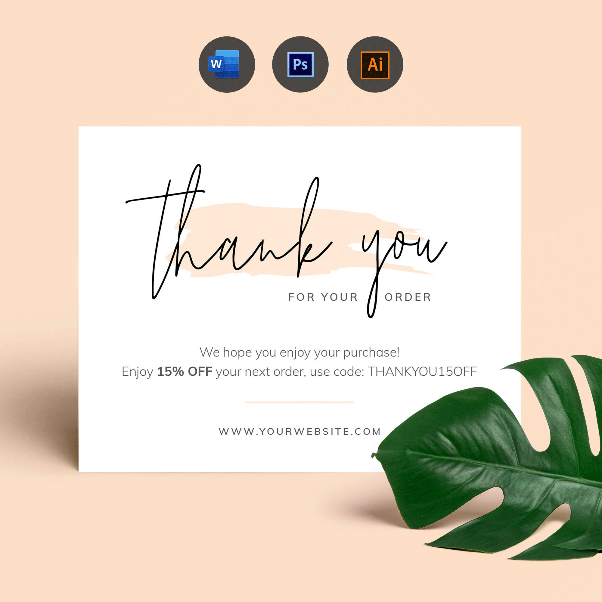 Business Thank You Card Template Editable Thank You For Order Etsy In 2021 Business Thank You Cards Thank You Card Design Thank You Card Template