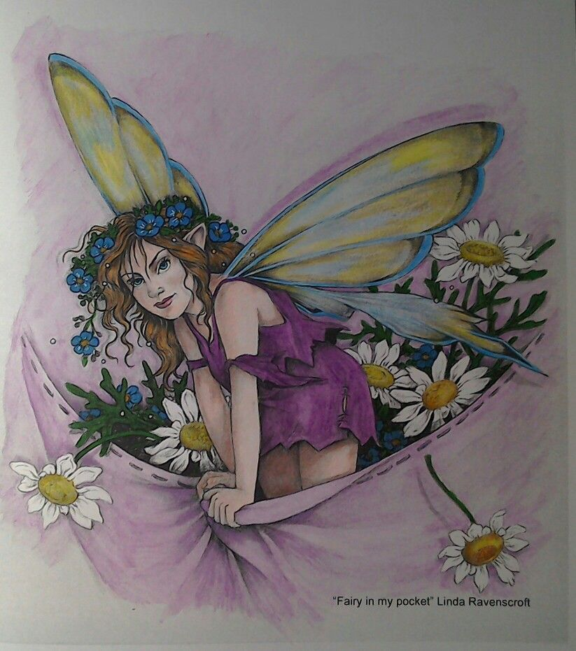 Fairy in my pocket from Linda Ravenscroft's colouring book ...