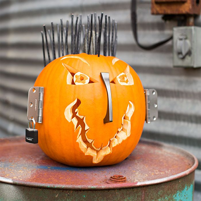 Pumpkin decorated with electrical wire pull handle door hinges and lock. & Pumpkin decorated with electrical wire pull handle door hinges ... pezcame.com