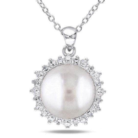 Zales 9.0 - 10.0mm Cultured Freshwater Pearl and White Topaz Necklace in Sterling Silver l7hjdB4j