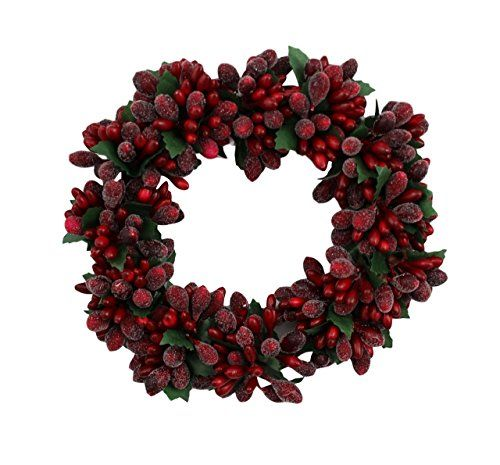 6-inch Christmas Red Beaded Berry Wreath Candlering Candle ...