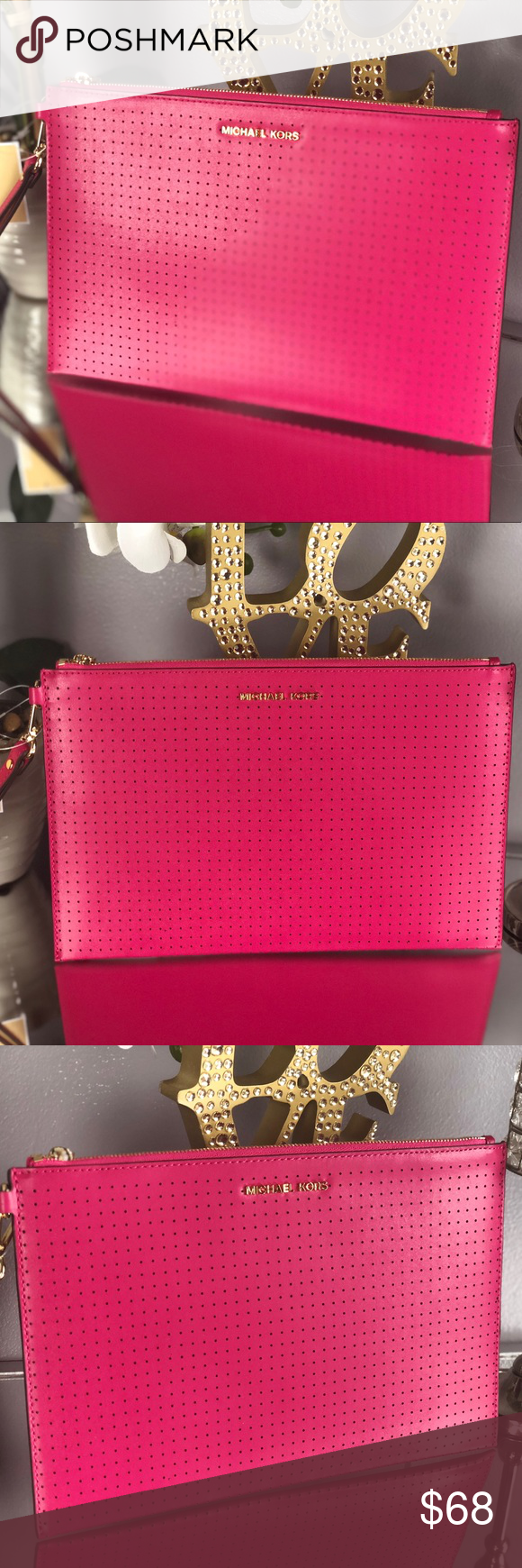 efd078084d90 Michael Kors Ultra Pink Leather Clutch Wristlet Michael Kors Ultra Pink  Leather Zip Clutch Wristlet BRAND NEW...NWT Retail Price   108 +tax Color   Ultra ...