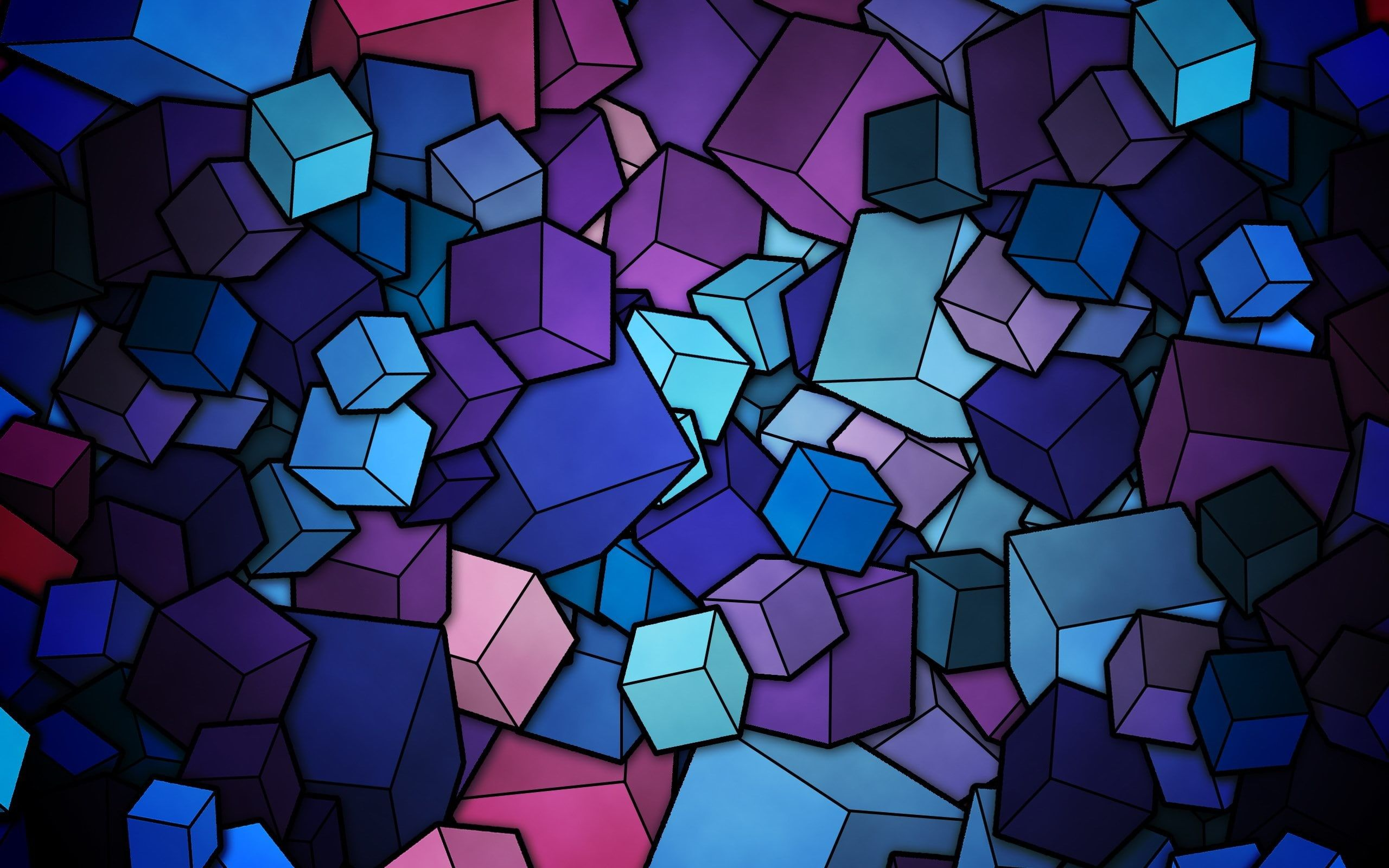 abstract cube cyan purple blue digital art 2K
