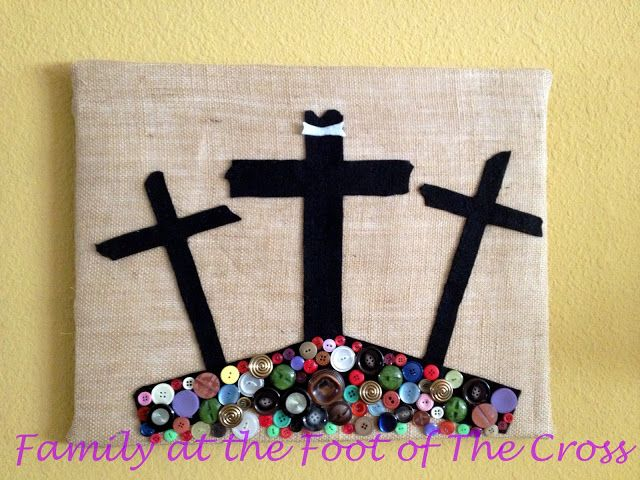 A family craft for Good Friday. Burlp is representative of sackcloth. The assortment of buttons being representative that Christ came to save all people regardless of who they are or what they have done.