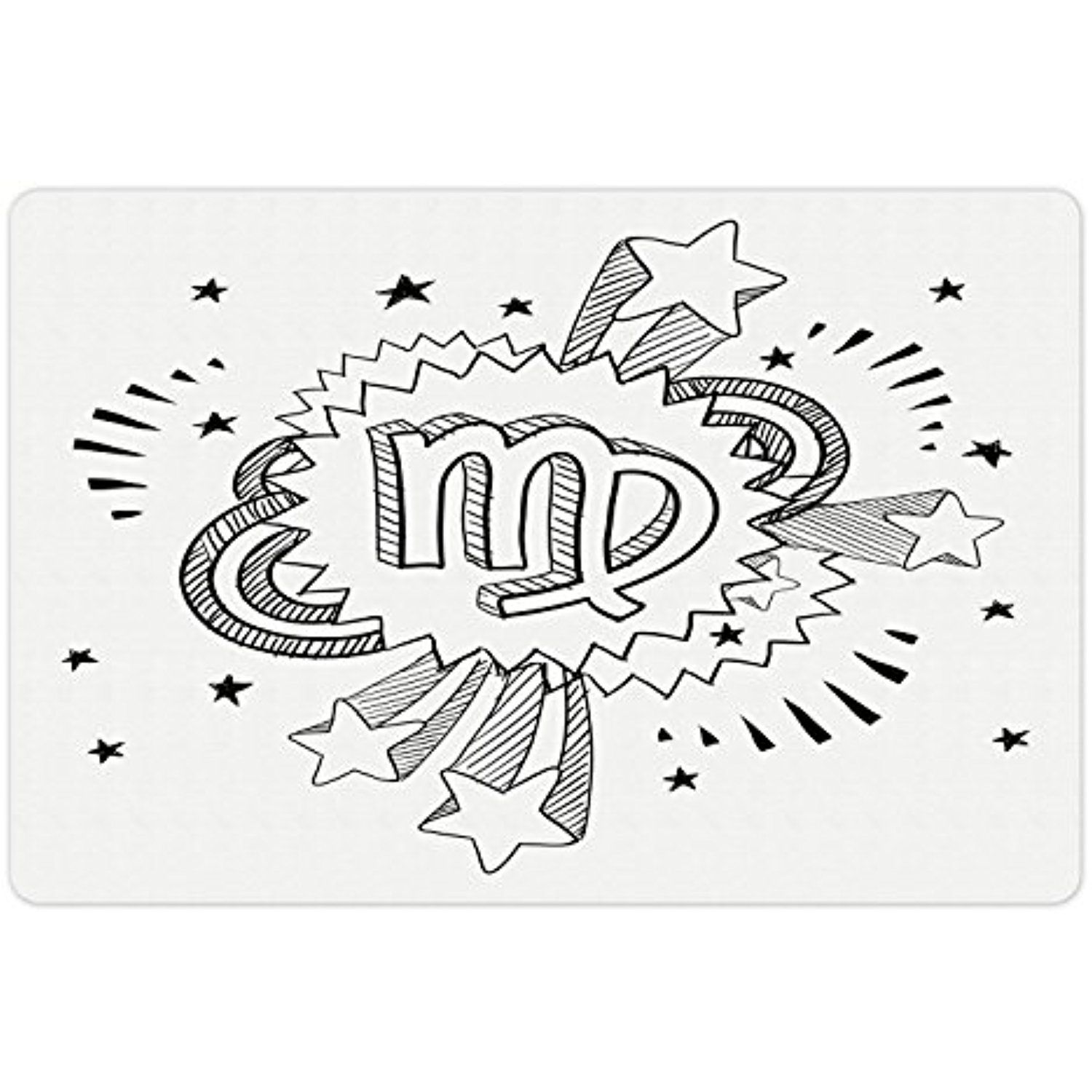zodiac virgo pet mats for food and water by ambesonne doodle style 1970 Men Accessories zodiac virgo pet mats for food and water by ambesonne doodle style astrology symbol on 1960s 1970s pop explosion background rectangle non slip rubber mat
