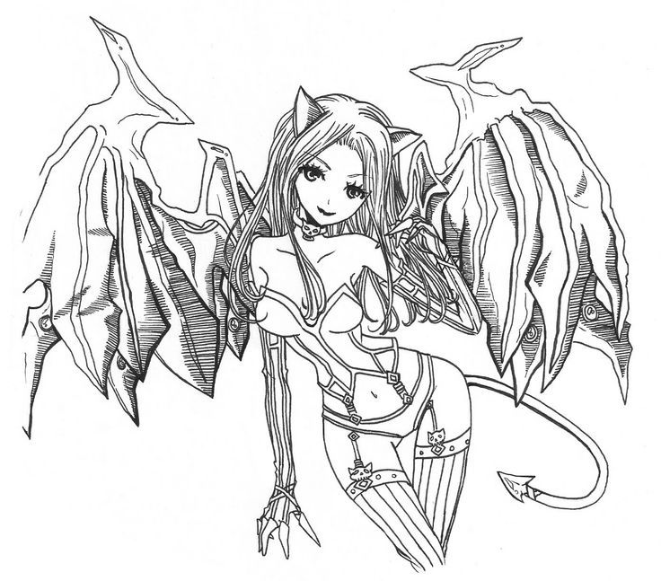 demon coloring pages for adults - Anime Vampire Girl Coloring Pages
