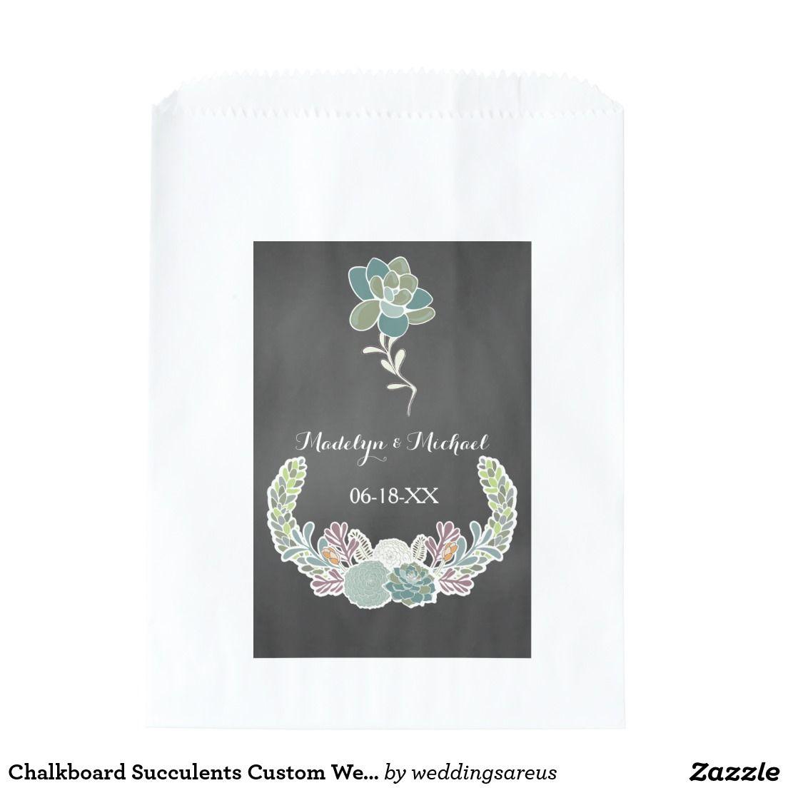 Chalkboard Succulents Custom Wedding Favor Bags