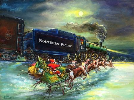 ★North Pole Express★ - xmas and new year, greetings, winter, lovely, celebrations, seasons, sleigh, gifts, holidays, festival, drawings, beautiful, reindeers, traditional art, northern pacifice, express, happiness, paintings, love four seasons, christmas, santa claus, trains