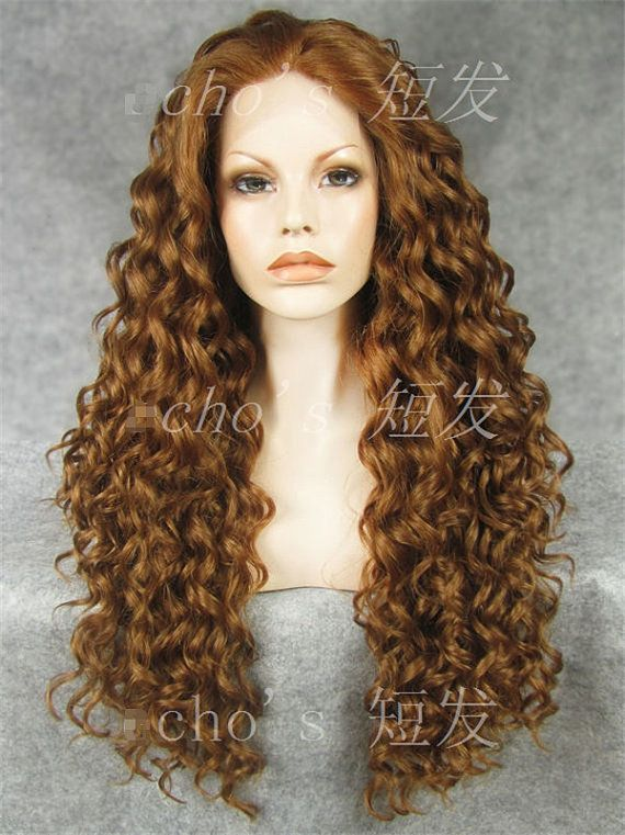 Long Curly Wig Golden Brown Long Curly Wig Heat By Chichair 86 00 Synthetic Lace Wigs Lace Front Wigs Cheap Lace Front Wigs