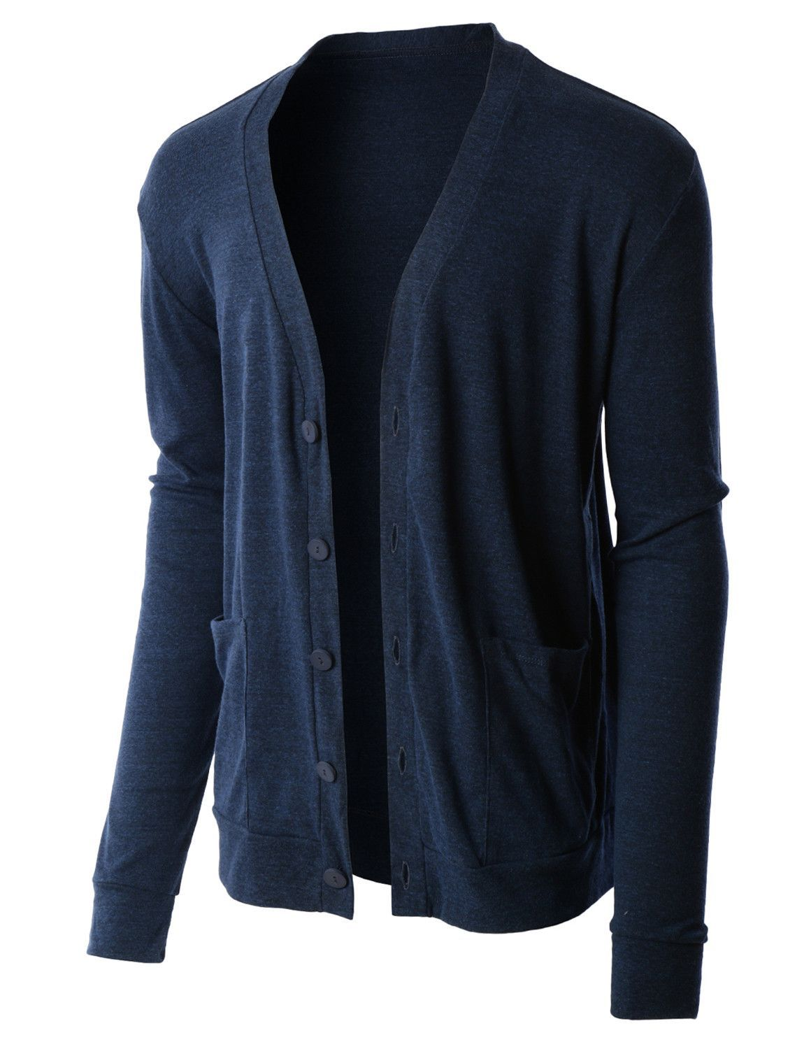 LE3NO PREMIUM Mens Lightweight Soft Ribbed Knit V Neck Cardigan ...