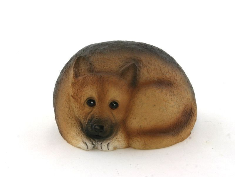 """Pet Rock German Shepherd Painted poly resin the back is neutral rock color approx. 4"""" X 2.5"""" Click to enlarge"""