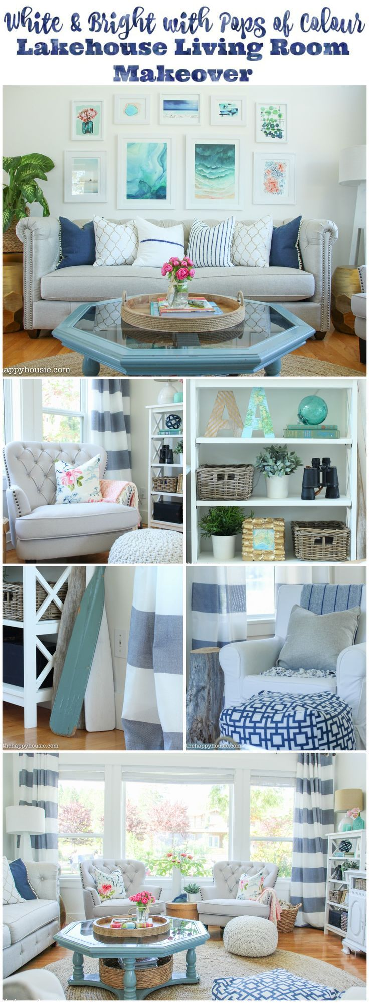 Lake house living room decor - Come And Tour This White And Bright With Pops Of Colour Lake House Living Room Makeover