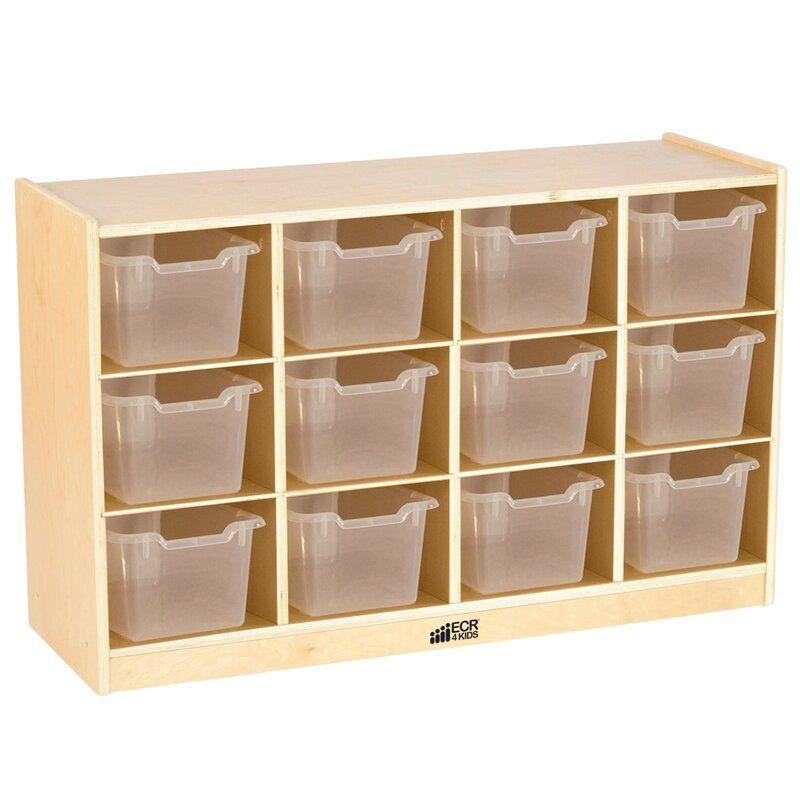 12 Compartment Cubby Clear Bins School Storage Ecr4kids
