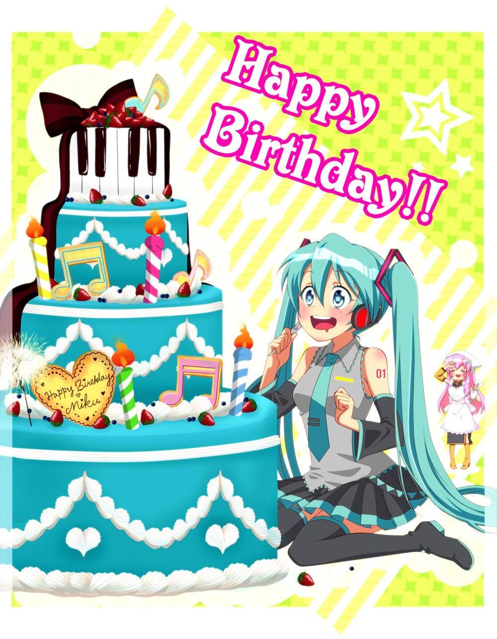 Cake Birthday Anime Happy Birthday Hatsune Miku Happy Birthday