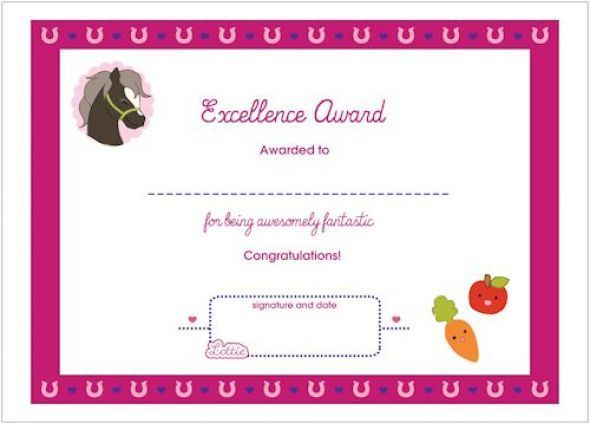 Horse theme award certificate free printable description from excellence printable award certificate yadclub Gallery