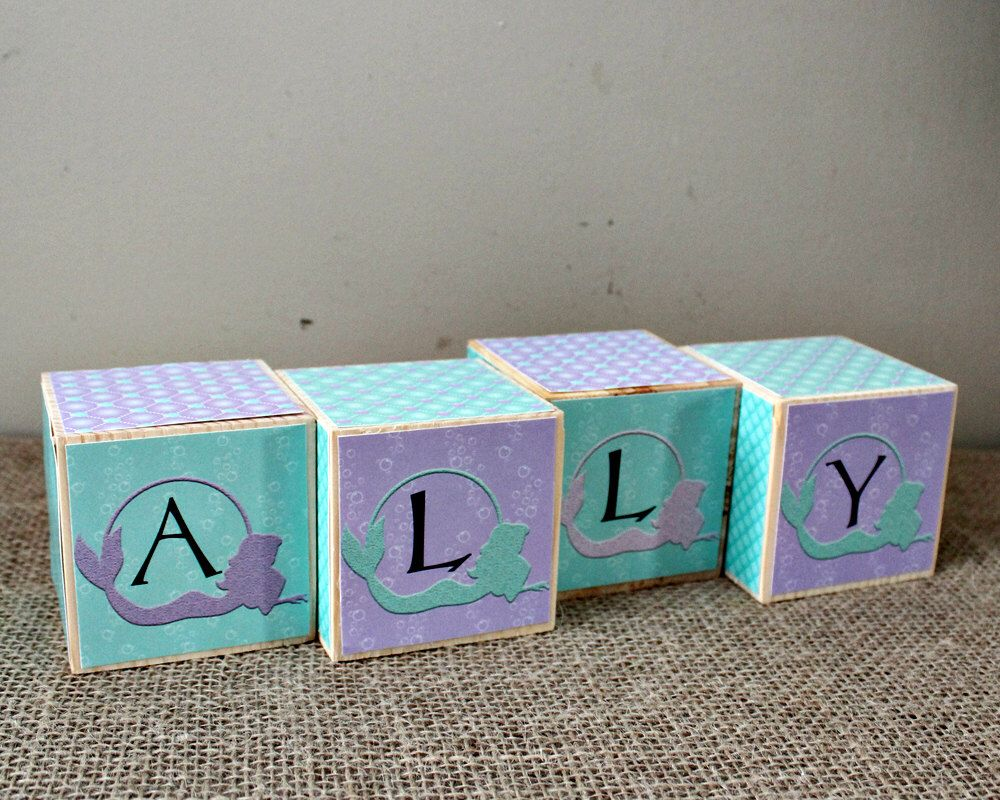 Personalised baby name cube baby shower gift name letter blocks personalised baby name cube baby shower gift name letter blocks mermaid nursery decoration negle Gallery