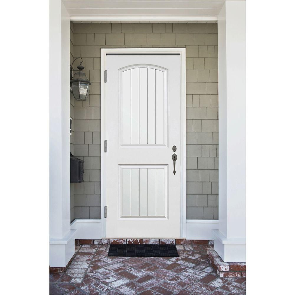 Steves Sons 36 In X 80 In Premium 2 Panel Plank Primed White Steel Prehung Front Door W 36 In Right Hand Outswing And 4 In Wall St22 Pr 30 4orh White Paneling Doors Craftsman Door