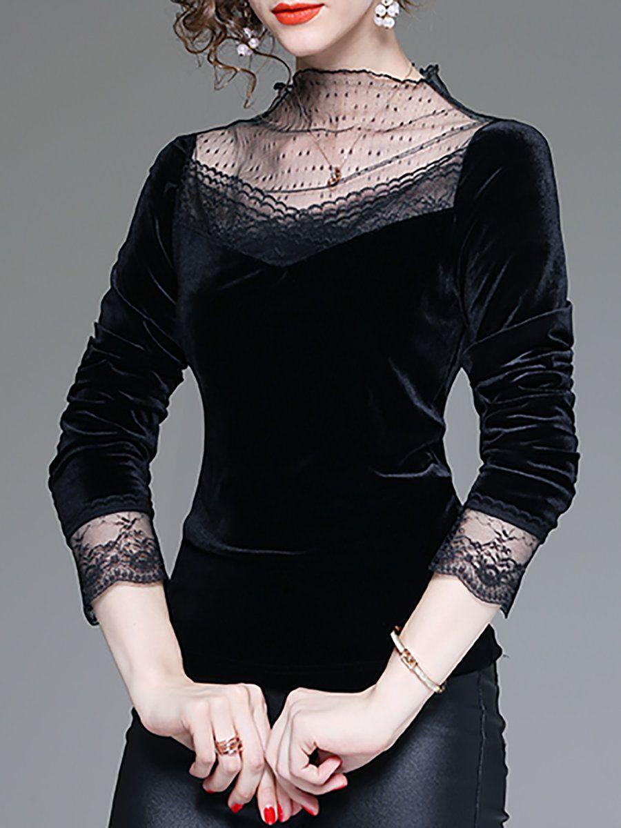 f5bfbcdec4 Stylewe Long Sleeve Black Women Tops For Work Elegant Crew Neck Polyester  Elegant Guipure Lace Daytime Tops