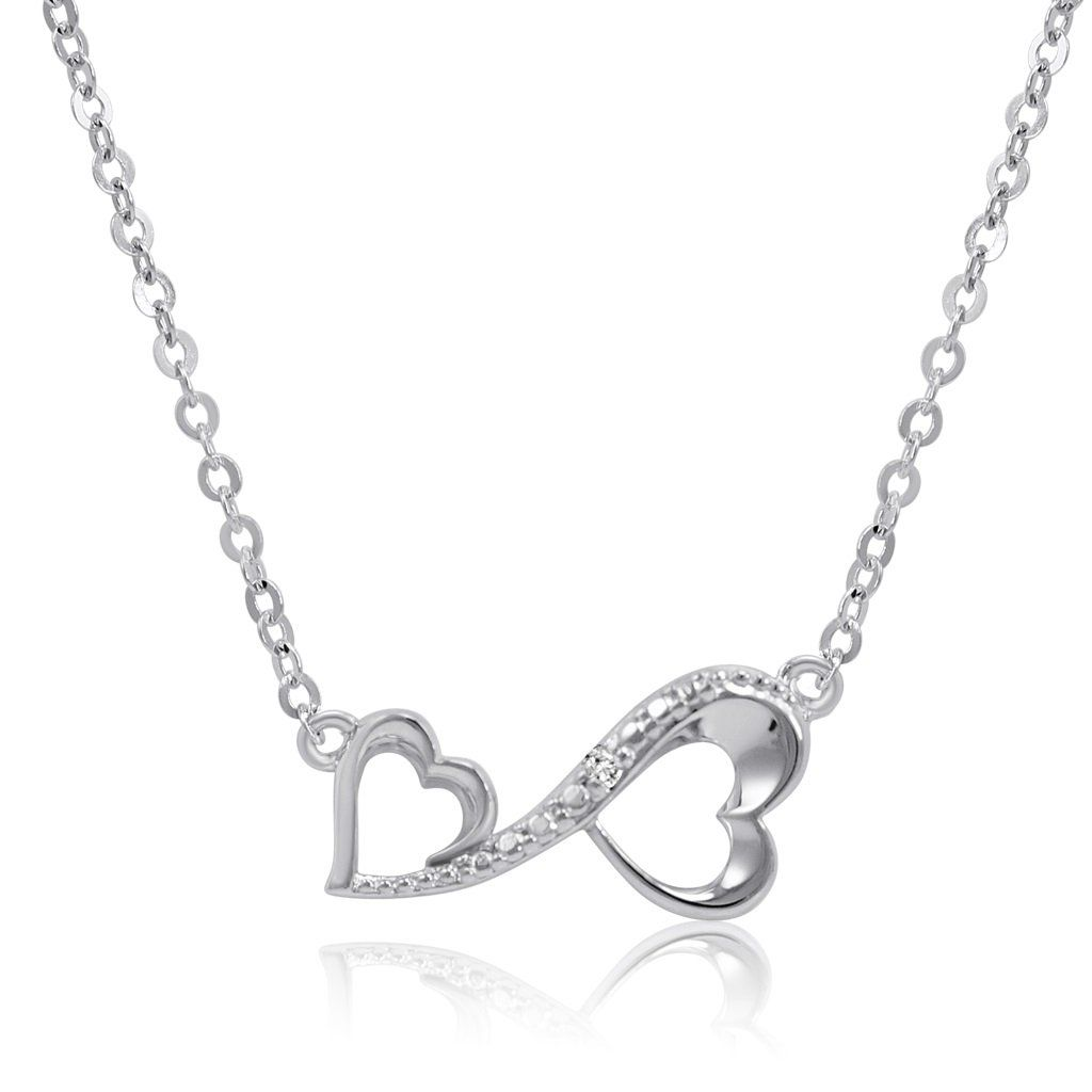 Sterling Silver Diamond Accent Infinity Heart Necklace inch
