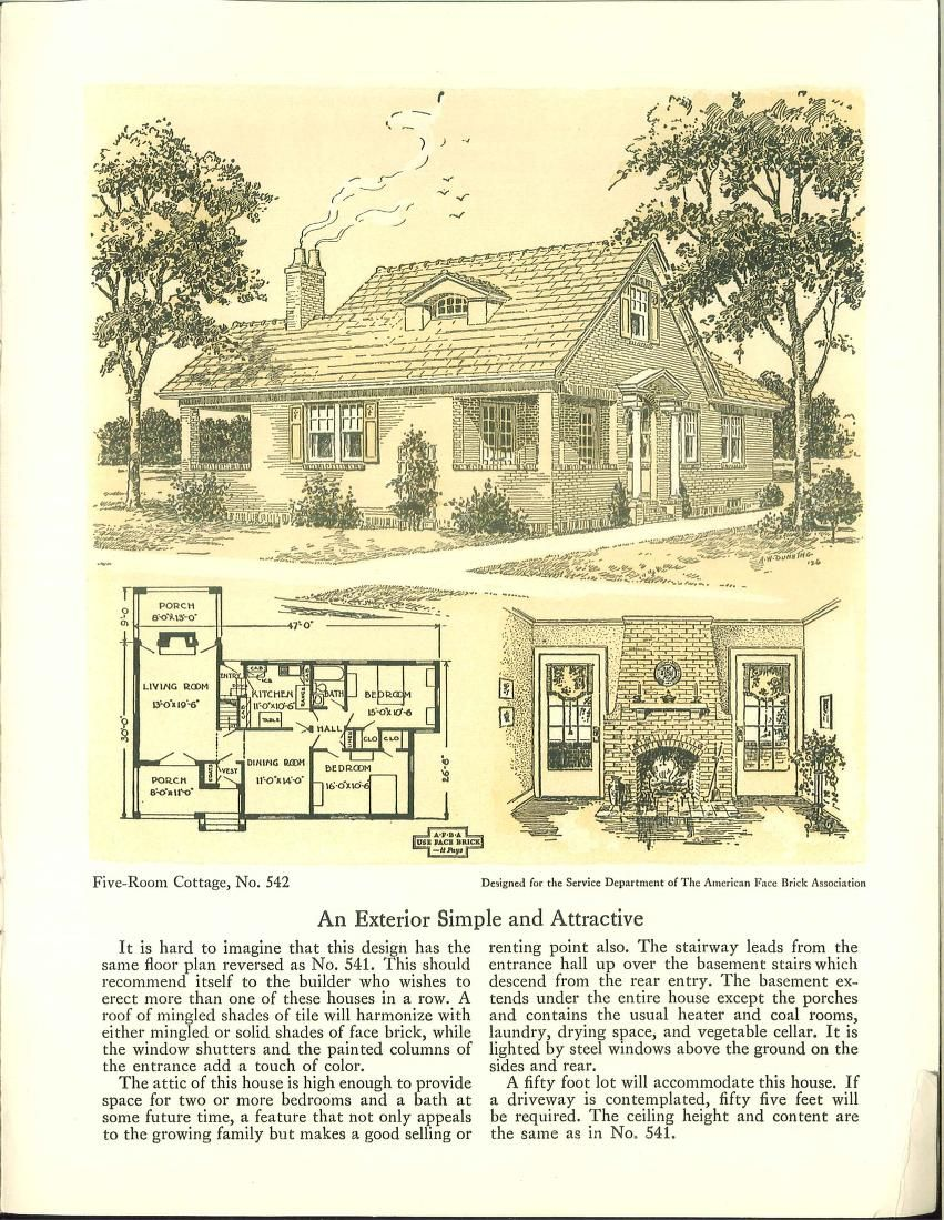 Five Room Face Brick Bungalow And Small House P 1926 Vintage