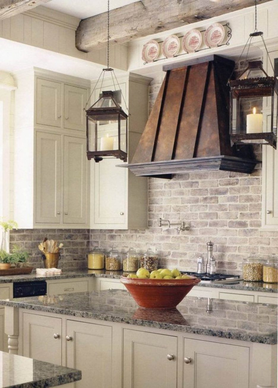 Image result for Washed brick backsplash Brick kitchen