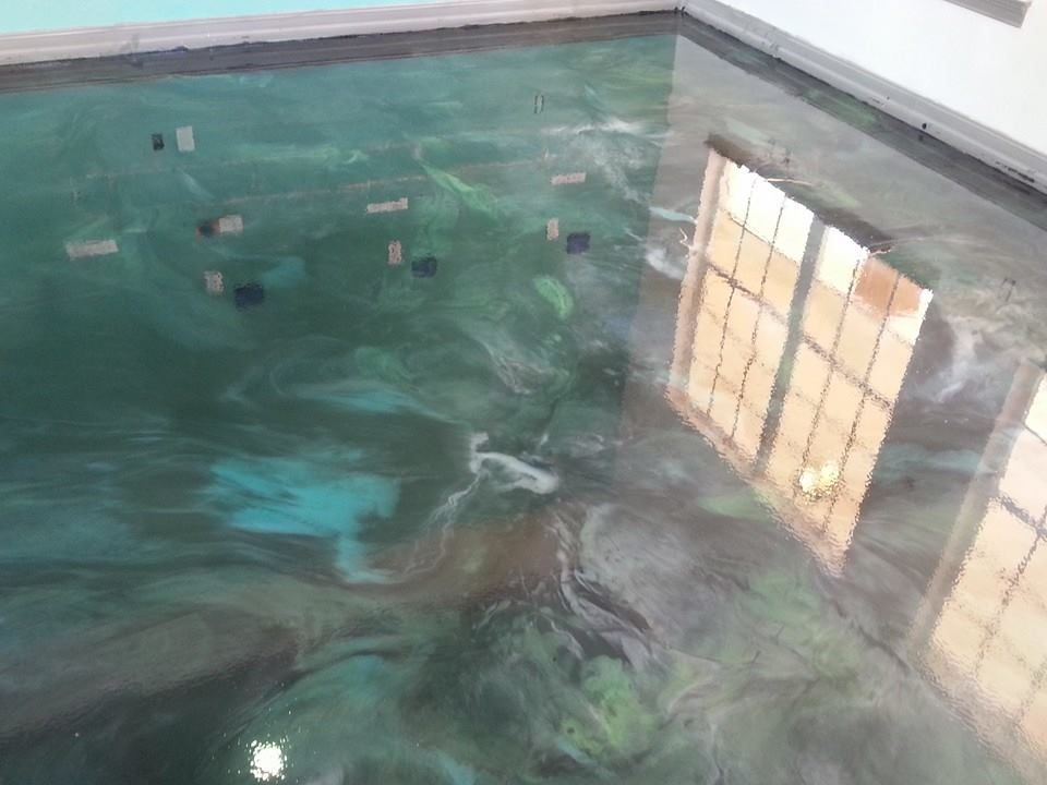 Bonita office epoxy overlay concrete floor pinterest for How to clean stains off concrete floor