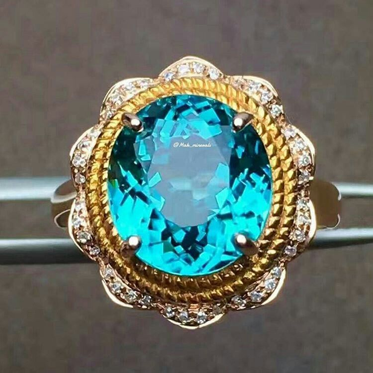 Mak Minerals The beautiful paraiba tourmaline 18k gold ring