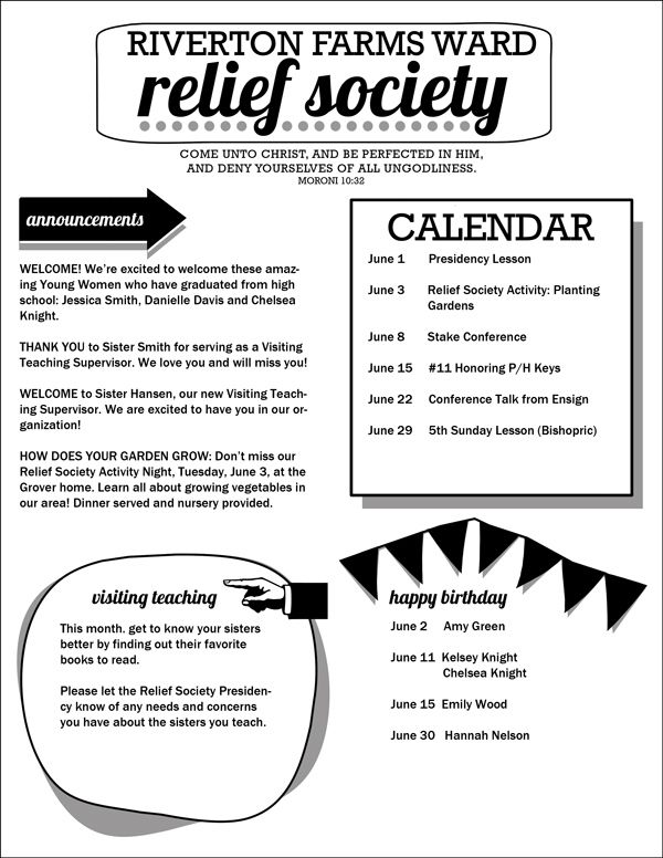 relief society newsletter template easy to customize pdf with areas
