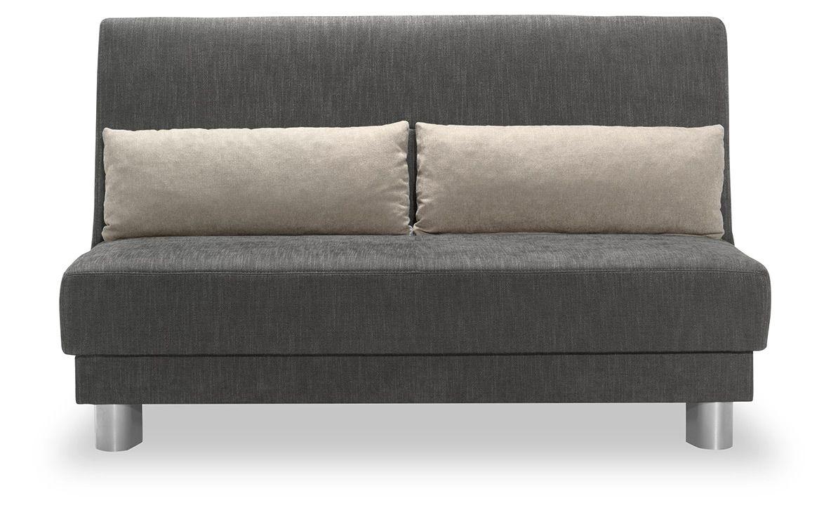 Schlafsofa Enzo 140cm In Webstoff Finess Anthrazit Mit Nierenkissen In Silber Schlafsofa Moderne Couch Bestes Schlafsofa