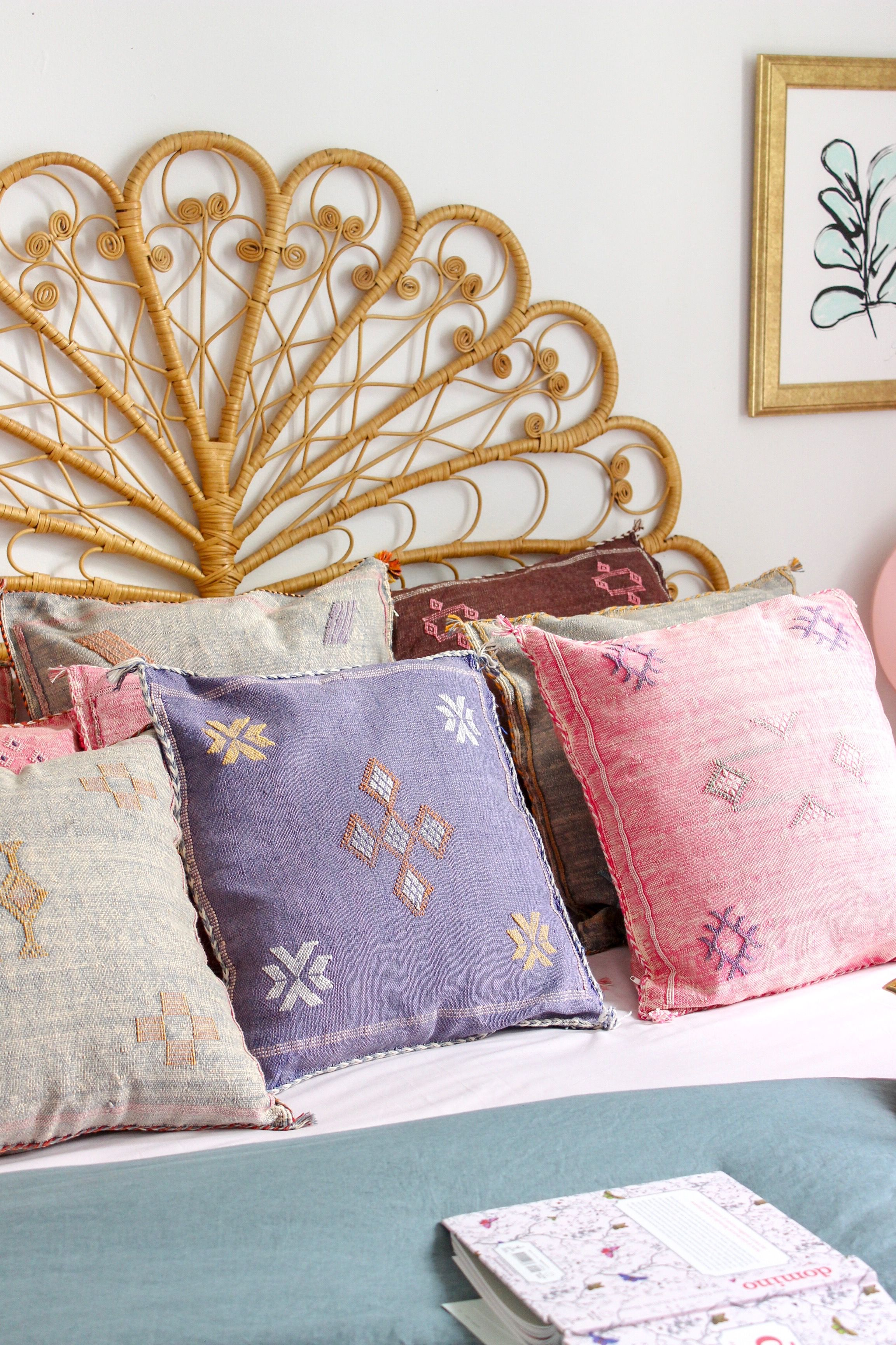 Romantic bed cactus silk kilim pillows from baba souk home