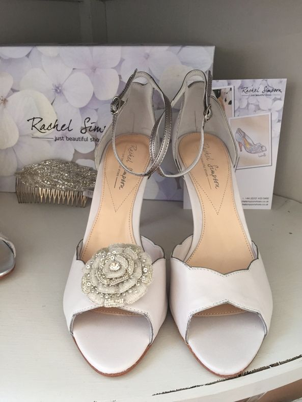 Rachel Simpson Nathalie Wedding Shoes In Porcelain And Silver Trim High Heels Holmfirth West Yorkshire 01484 766160