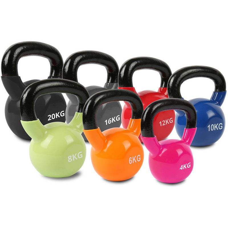 Vinyl Dipped Colour Coded Kettlebell Set 4 To 20kg Kettlebell Set Kettlebell Kettlebell Training